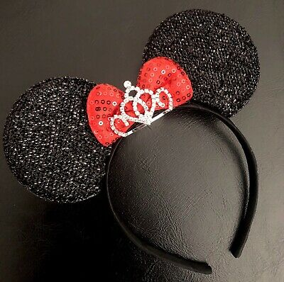 Minny Mouse Ears (Minnie Mouse Princess Tiara Crown Headband Sparkly Black Ears Red Bow Adult)