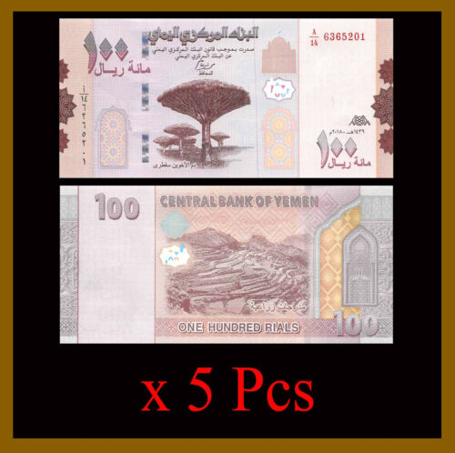 Yemen 100 Rial x 5 Pcs, 2018 P-New Mountains Terrace Cultivation Unc