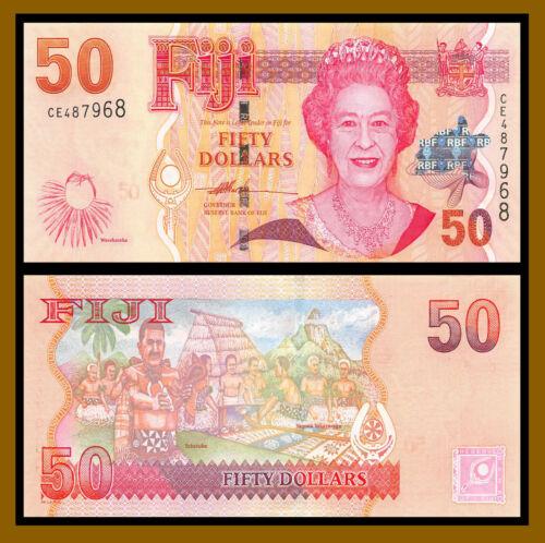 Fiji 50 Dollars, 2007 P-113 Queen Elizabeth II Banknote Unc