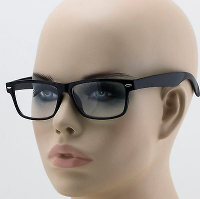 BLACK UNISEX RECTANGLE Mens Womens Clear Vintage Lens Nerd Geek Glasses Eyewear (Black Geek Glasses)