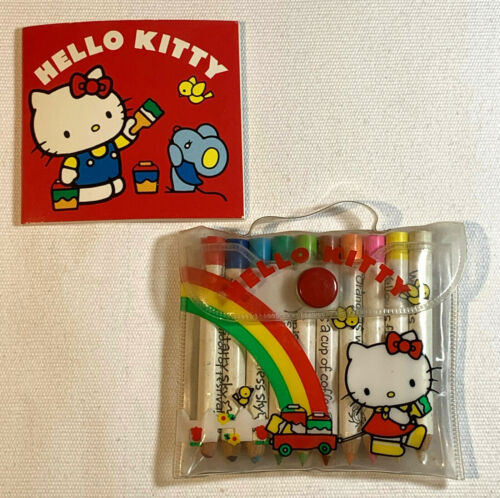 Vintage 1976, 1984 Sanrio Hello Kitty Mini Pencil & Notebook Set in Small Pouch