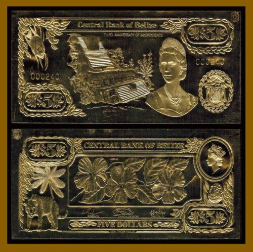 Belize 5 Dollars, 1984 P-CS1 Flower Gold Foil Unc