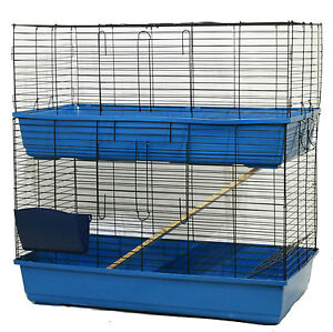 large indoor rabbit hutch guinea pig pet cage 2 tier 100cm