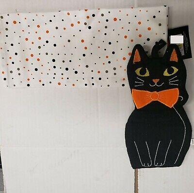 2 pc Kitchen Set: 1 Extra Large Pot Holder & 1 Towel, BLACK CAT