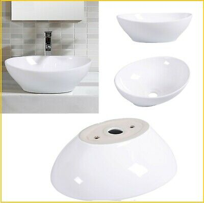 Oval Top Mount - Bathroom Sink White Bowl Ceramic Oval Vessel Sink Small Basin Drain Hole Mount