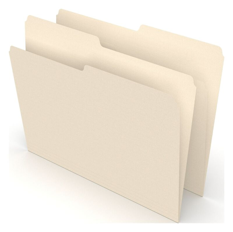 MyOfficeInnovations Manila File Folders Letter 2 Tab Assorted Positions 100/Box