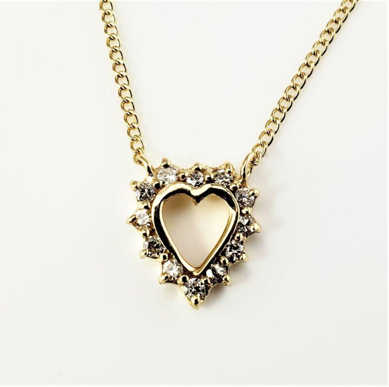 Vintage 14 Karat Yellow Gold Diamond Heart Pendant Necklace #8822
