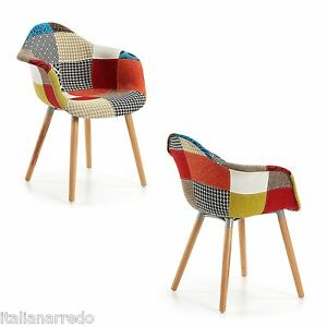 Sedia in tessuto patchwork legno poltroncina con braccioli for Sedia design ebay