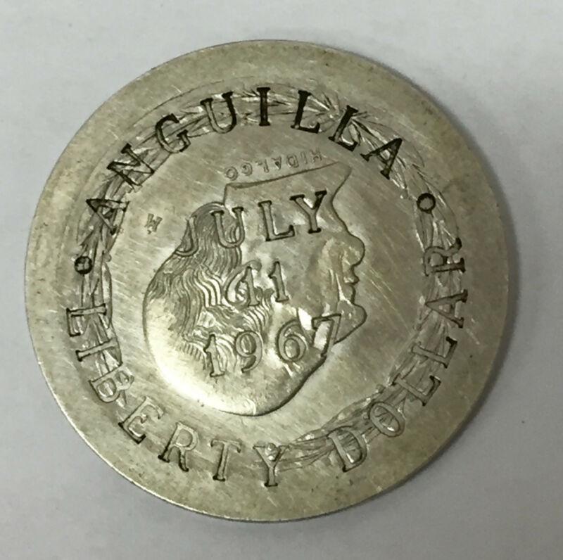 1967 Anguilla Liberty Dollar, Overstruck on 1959 Mex 5 Peso