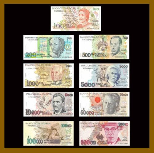 Brazil 100 - 500000 Cruzeiros (9 Pcs Full Set), 1990-1993 P-228-236 Unc /LA24