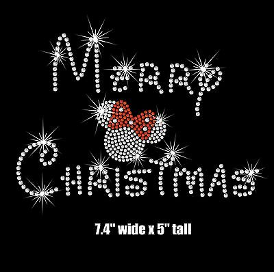 Choice of Minnie Mouse Merry Christmas iron on rhinestone transfer applique ()