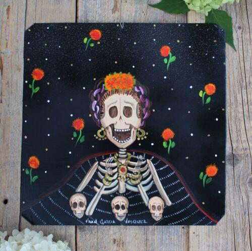 Day of the Dead Tin Retablo Frida Kahlo Skeleton Rebozo Oaxaca Mexican Folk Art