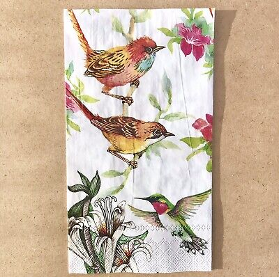1 single Decoupage Buffet Napkin Colorful Birds Tropical Flower Blooms