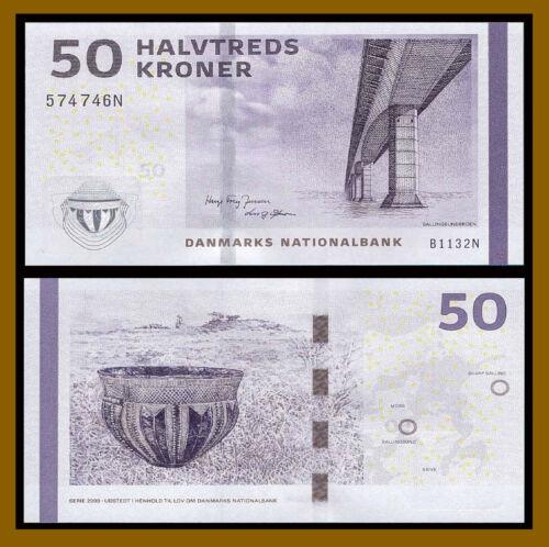 Denmark 50 Kroner, 2013 P-65f Sallingsund Bridge Banknote Unc