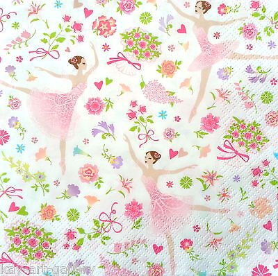 4 Single Vintage Table Paper Napkins Lunch for Decoupage Decopatch Ballerina