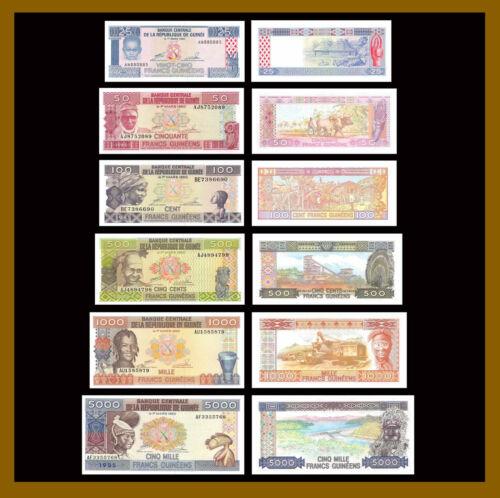 Guinea 25 50 100 500 1000 5000 Francs (6 Pcs Set),1985 P-28/29/30/31/32/33 Unc