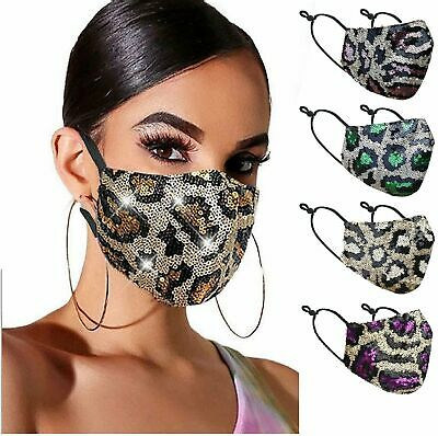 Animal Print Sequin Glitter Fabric Shiny Bling Fashion Face Mask Washable Accessories