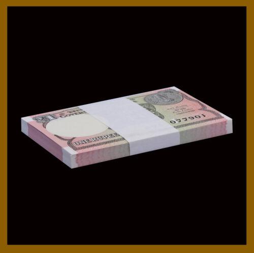 India 1 Rupee x 100 Pcs Bundle, 2014-2018 P-117 Unc