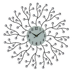 Elegant Bejeweled Abstract Branches Round Wall Clock with Crystal Accents 20