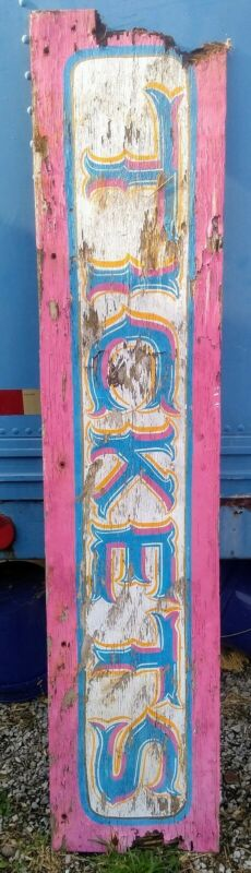 """55""""x12"""" OLD WOODEN FREAK SIDESHOW TICKET sign,CIRCUS,ODDITY, BANNER,ART, Painted"""