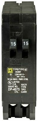 Square D Homeline 2-15 Amp Single-pole Tandem Circuit Breaker