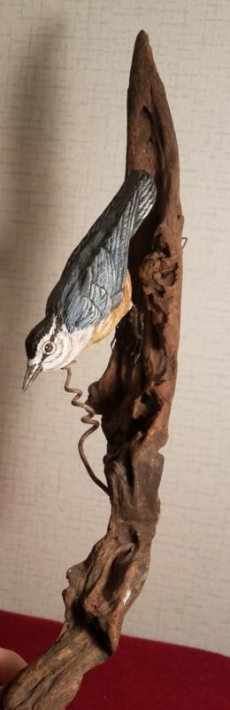 Carved Nuthatch, signed by Robert Wells, 1990