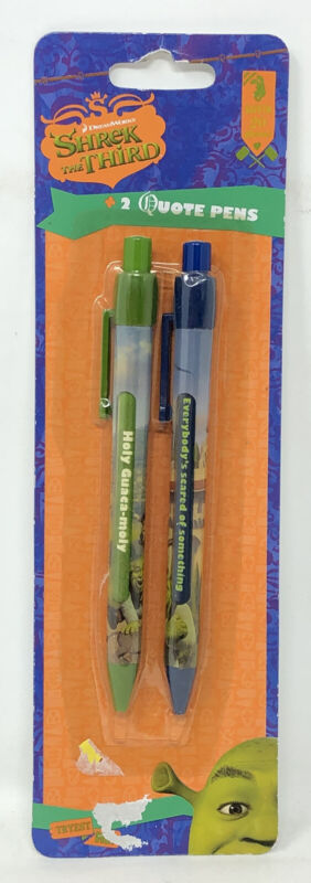 SHREK THE THIRD — Collectible Set 2 Movie Quote Click Pens Sealed NOS Donkey