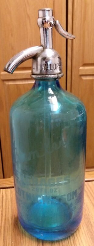 Vintage Stanley Beverage Blue Glass Seltzer Bottle, Czechoslovakia, Brooklyn NY