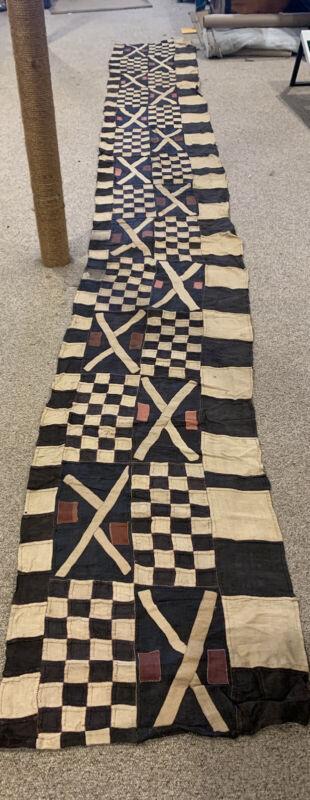 "Antique Kuba Congo Textile Runner Raffia Handwoven Congo 17'x25"" huge"