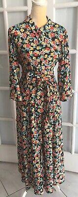 NWT ZARA Multicolor LONG FLORAL PRINTED DRESS Self Belt Long Sleeve 2XL  O1658