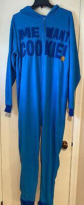 Sesame Street Adult Cookie Monster Soft Union Suit Pajamas/Costume Size M/L, EUC