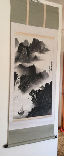 Chinese Hanging Scroll River Landscape  - $60.00