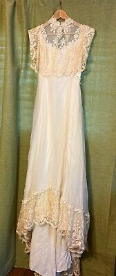 Vintage Lace Wedding Dress Size 8 Lace Sleeves