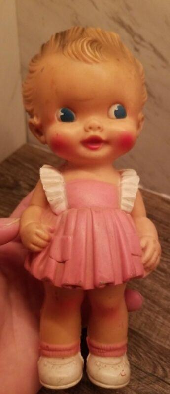 Rare!! Vintage 50's, Ruth E. Newton's Squeak Doll, The Sun Rubber Co. Girl