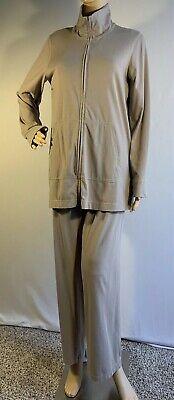 Eileen Fisher Beige/Tan Tracksuit Jacket & Pants Organic Cotton Size Medium M