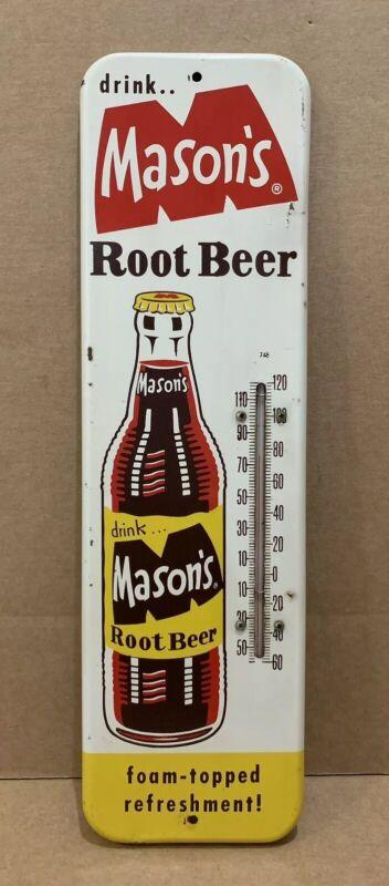 Masons Root Beer Thermometer Vinatge Works Bottle Sign Cap Soda Drink Foam Top