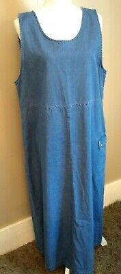 Talbots Women's Denim Blue Jean Dress/ Jumper size Large 100% Cotton Back Slit Blue Jean Jumper