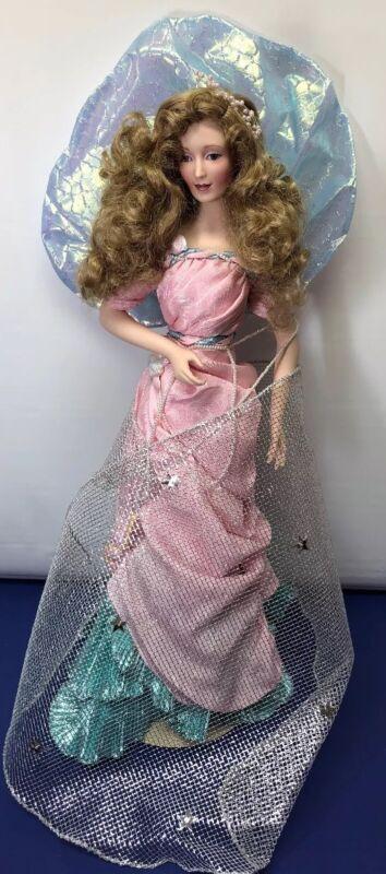 "20.5"" Franklin Mint Lady Of The Lake Porcelain Beautiful Blonde MIB"