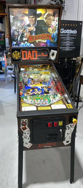 Maverick Pinball Machine By Sega James Garner Free Shipping LEDs 1994