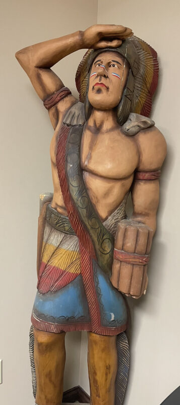 Carved Wooden 6ft Cigar Store Indian