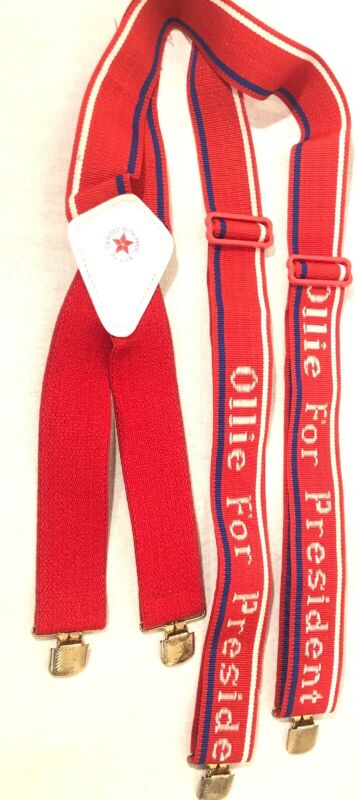 Vtg 80s Oliver North Ollie For President Suspenders Made In The USA Free Shipp
