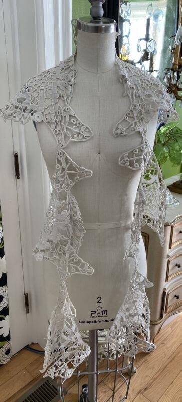 Antique Arts & Crafts Needle Crochet Linen Irish Lace Trim collar~insert roses