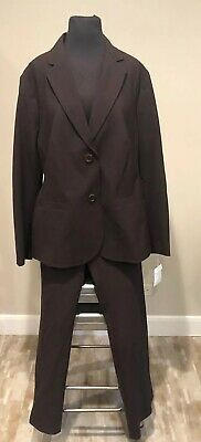 Lands End Womans Suit Plus Sz 16W Jacket/ Blazer Sz 14W Pants Brown NEW