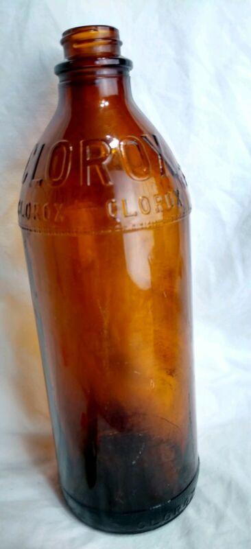 Vintage Clorox  Brown Glass Bottle 16 oz