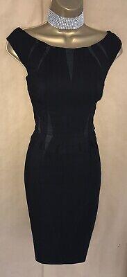 Exquisite Karen Millen Dress Size 8 Black Pencil Dress **With Faults