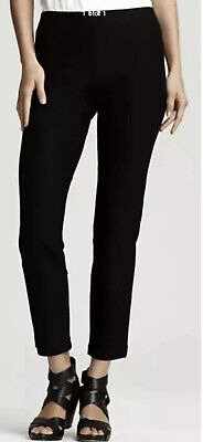 L NEW EILEEN FISHER BLACK WASHABLE STRETCH CREPE SLIM ANKLE PANT W/ WIDE BAND Black Stretch Crepe