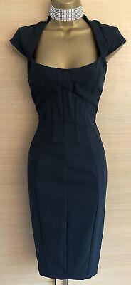 Exquisite Karen Millen Black Corseted Hourglass Pencil Dress Uk10 Stunning