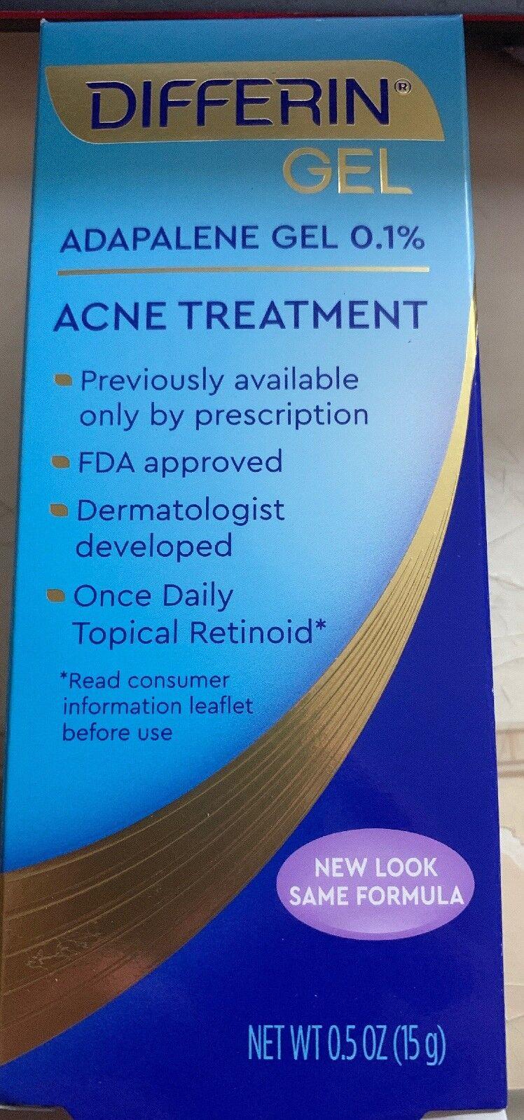 Differin Adapalene Gel 0.1% Acne Treatment 0.5 Oz FDA New Ar
