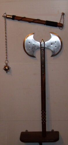 """FREE SHIP, STUDDED 31"""" MEDIEVAL DOUBLE EDGE BATTLE, EXECUTIONER AXE + FLAIL / MA"""