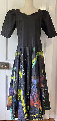 80s Dresses | Casual to Party Dresses Vintage retro 80s size 14 black multicoloured abstract print taffeta ball gown p $38.65 AT vintagedancer.com
